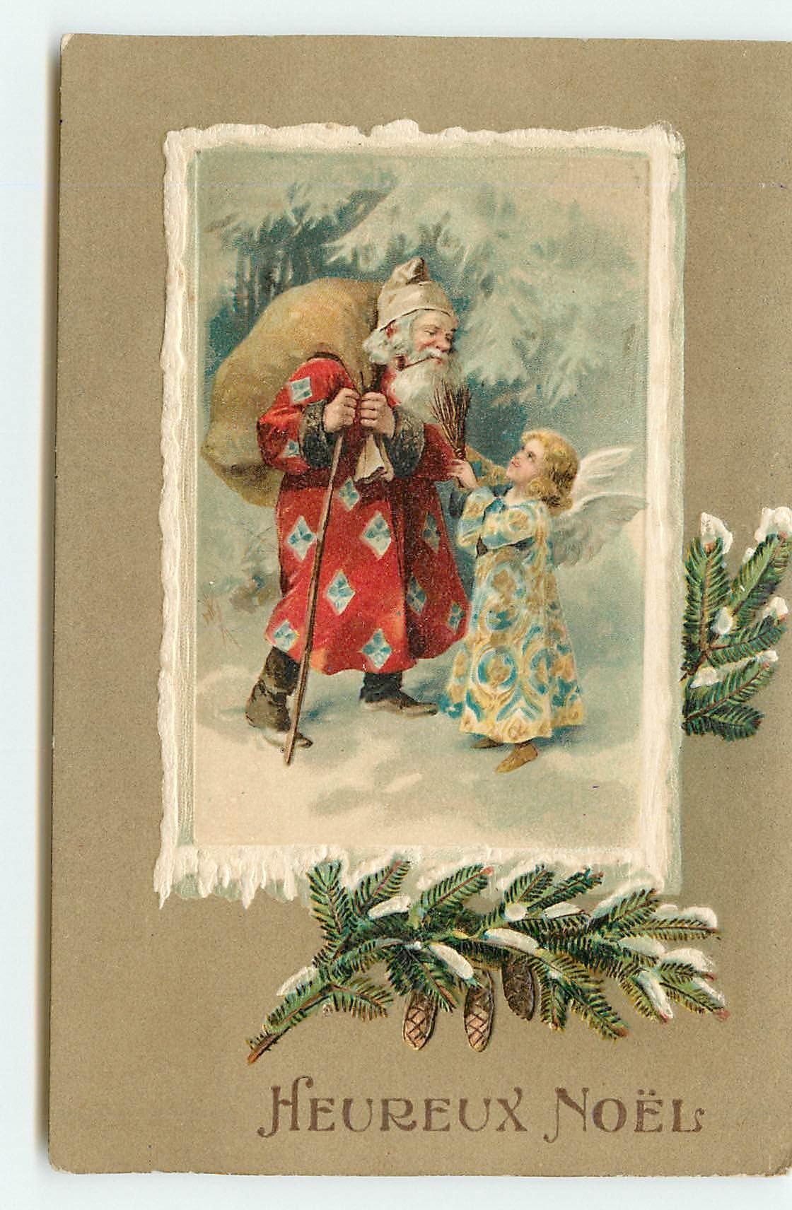 n°2086 - Heureux Noël - Angelot et Père Noël - Carte Postale Ancienne /  Beekollect