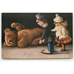 nº13203 - Couple de poupées regardant un ours en peluche - Teddy Bear - Oilette - Carte Postale Ancienne